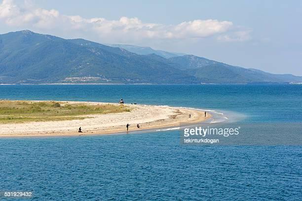 fishing at keramoti near thassos island of kavala greece - thasos stock photos and pictures