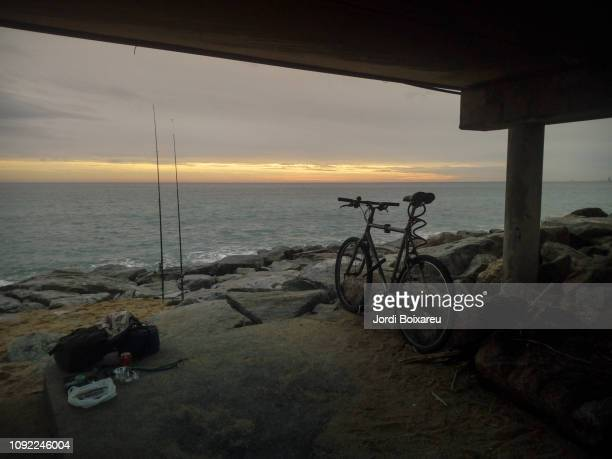 fishing at mediterranean sea - maresme stock photos and pictures