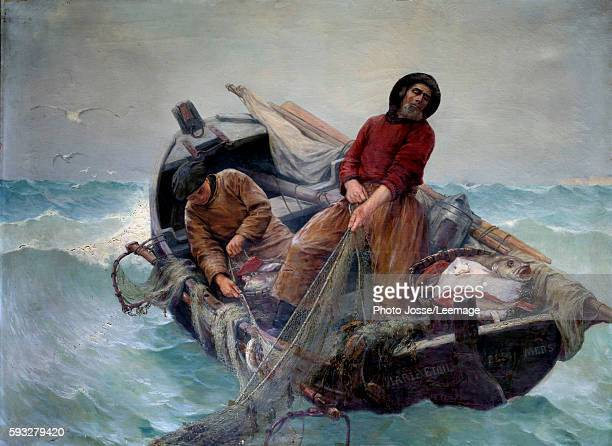 Fishermen hauling in their net at sea Painting by Georges Haquette 1901 BeauxArts Museum Rouen France