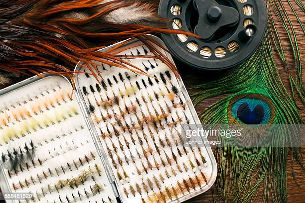 fishing baits,  close-up - fly casting stock pictures, royalty-free photos & images