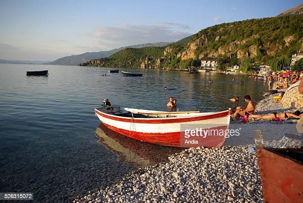 Fishing barge on Lake Ohrid at Radozda fishing village Republic of Macedonia