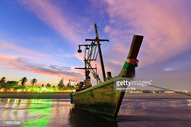 fishing boat after sunset - prachuap khiri khan province stock pictures, royalty-free photos & images