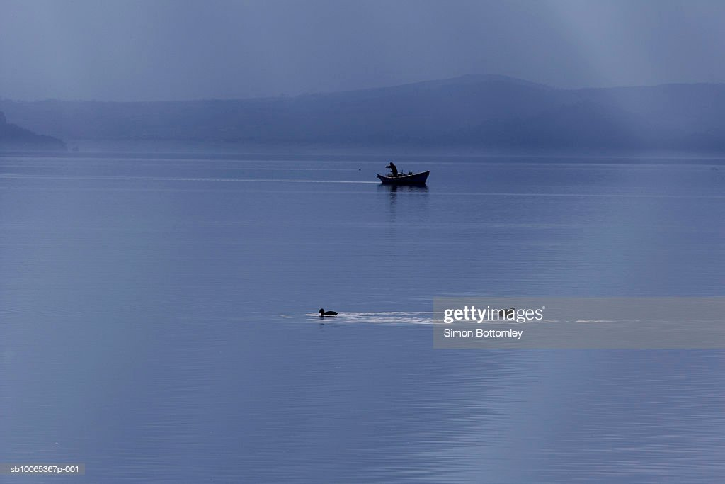 Fishing boat and ducks on lake : Foto stock