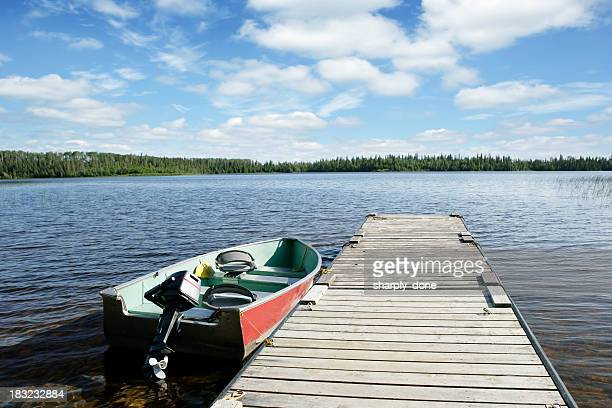xxl fishing boat and lake - lake stock pictures, royalty-free photos & images