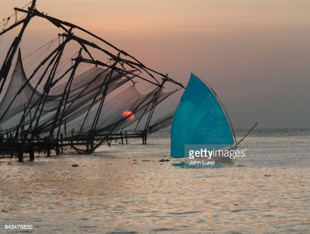 Fishing Boat And Nets, Kerala, India