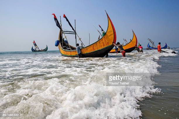Fishing boat at Coxbazar Chittagong and Coxbazar is main center of sea fishing in BangladeshMore than 40000 families engaged with sea fishing Most of...
