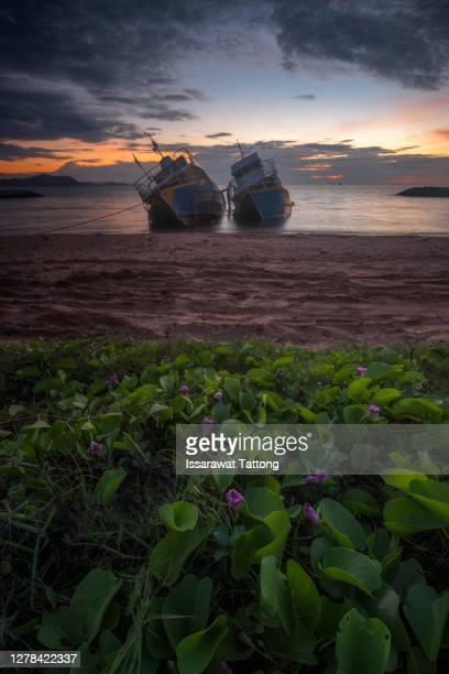 fishing boat capsize sunset blackground - founder stock pictures, royalty-free photos & images