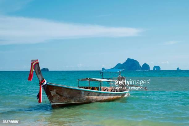 Fishing boat floating in ocean