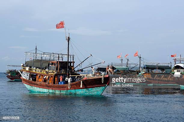 A fishing boat goes at sea on May 2 2008 near Sanya Hainan province China Sanya is the southernmost city of Hainan island located in the Southern...