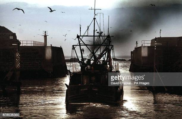 A fishing boat heads out to sea at Eyemouth harbour in the Scottish Borders The small Scottish fishing town of Eyemouth has experienced tragedy from...