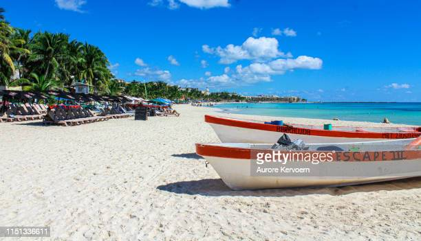 fishing boat in playa del carmen - riviera maya stock photos and pictures