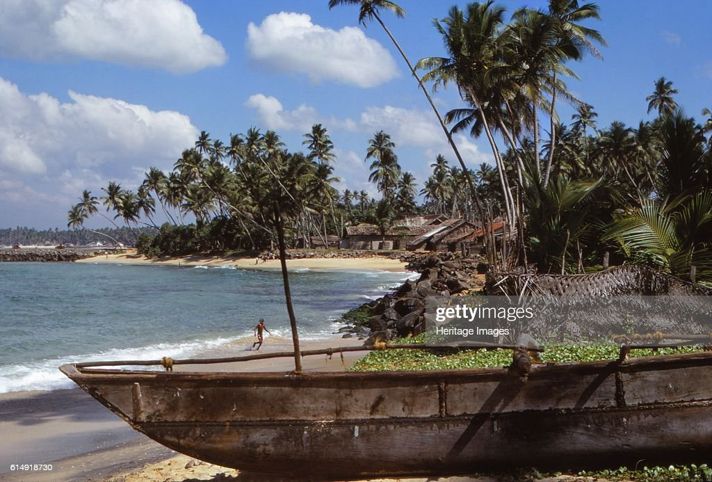 Fishing Boat In Village Of Hikkaduwa : News Photo