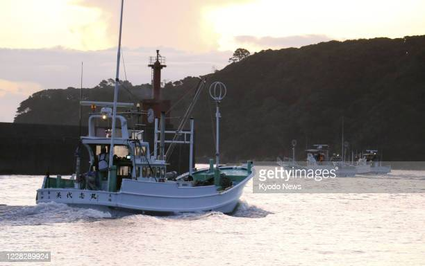 A fishing boat leaves a harbor in Taiji in Wakayama Prefecture western Japan early in the morning of Sep 1 for the season's first drive hunt of...
