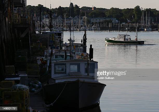 A fishing boat leaves the dock on July 21 2012 in Portland Maine A mild winter and warmer than usual spring caused lobsters to shed their shells six...
