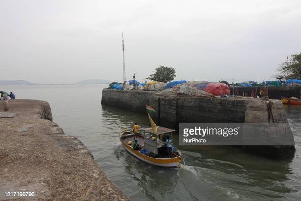 A fishing boat leaves the fishermen dock in Mumbai India on June 02 2020 Tropical cyclone storm quotNisargaquot expected to hit the Maharashtra coast...