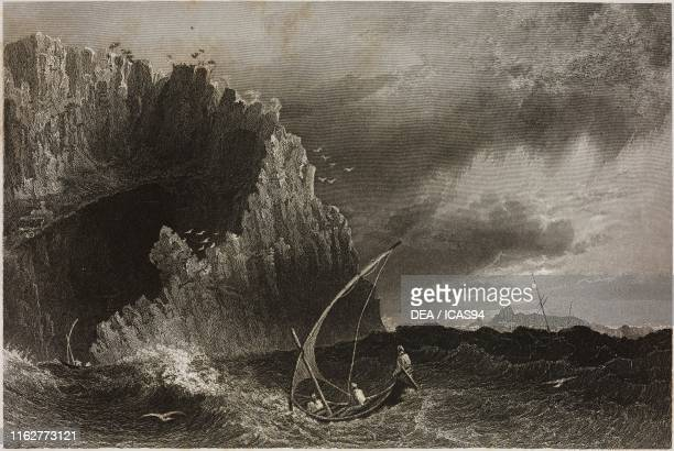Fishing boat near the rocky coast of Anamur Turkey engraving by J Tingle after a drawing by W H Bartlett from La Siria e l'Asia minore illustrate by...