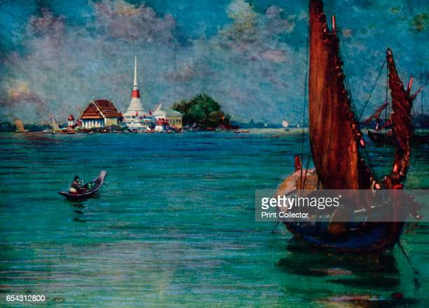 A Fishing Boat Off the Island Pagoda of Paknam 1913 From The Gorgeous East by Frank Elias [Adam and Charles Black London 1913] Artist Edwin Norbury