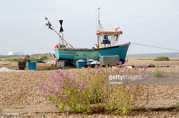 fishing boat on beach, england - aldeburgh stock photos and pictures
