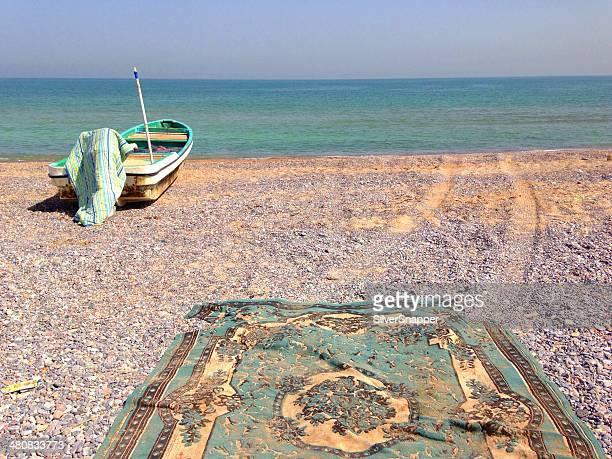 Fishing boat on beach, Muscat, Oman