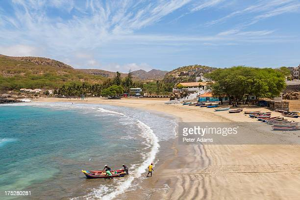 fishing boat on beach, tarrafal, santiago island - cape verde stock pictures, royalty-free photos & images