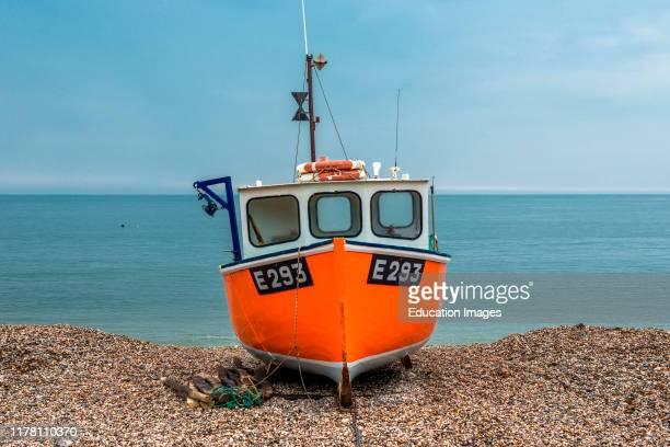 Fishing boat on Branscombe beach Devon England UK