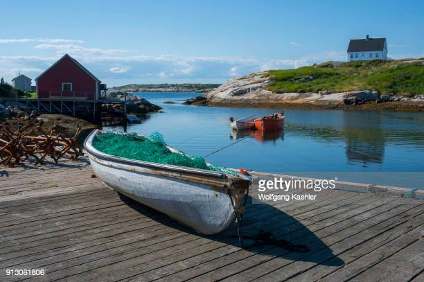 Fishing boat on dock in the fishing village of Peggy's Cove near Halifax Nova Scotia Canada