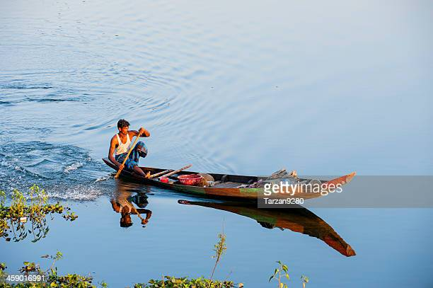 fishing boat on kaptai lake, rangamati, bangladesh - fishing in bangladesh stock photos and pictures