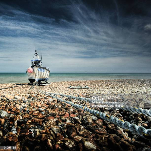 Fishing boat on rope