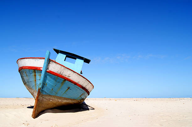 Fishing boat on sand