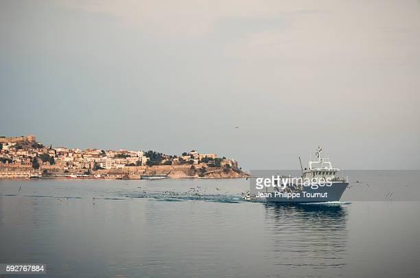 Fishing boat on the Aegean Sea near Kavala, Greece