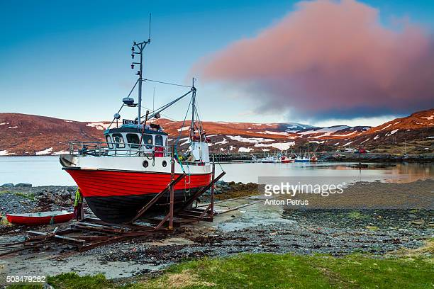 Fishing boat on the beach. Norway