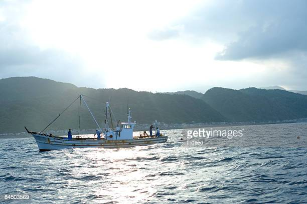 Fishing boat on the sea, Hokkaido, Japan
