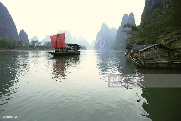 Fishing boat on water, China