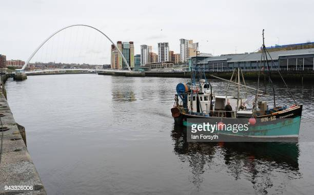 A fishing boat prepares to tie up at a pontoon on the Quayside on the River Tyne as fishermen take part in a nationwide protest against the Brexit...