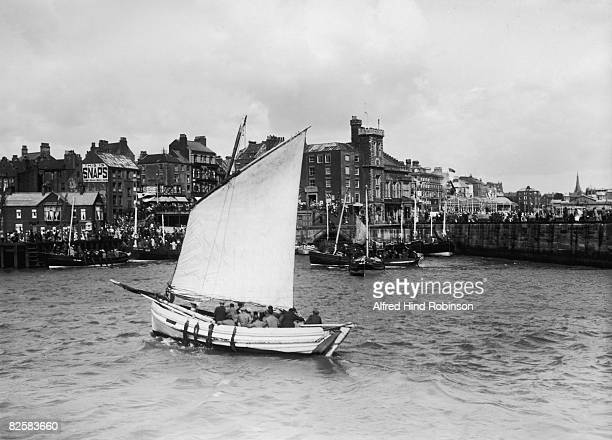 Fishing boat returns to Bridlington harbour in East Riding of Yorkshire, 18th August 1922.