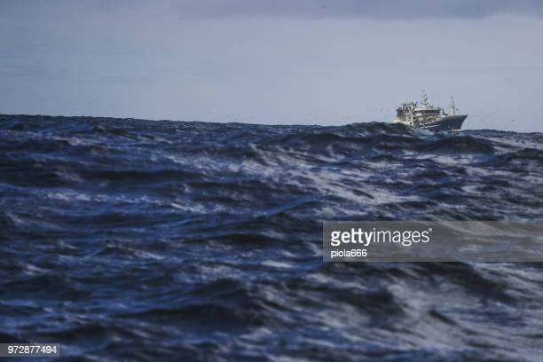 fishing boat sailing out at rough sea: big waves - italy vs norwegian stock pictures, royalty-free photos & images
