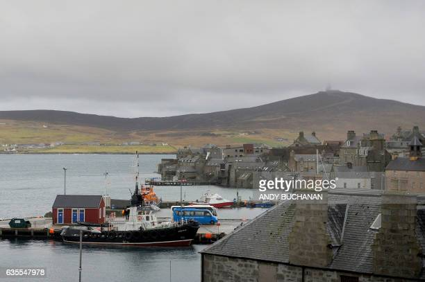 Fishing boat sits moored in the harbour in Lerwick, Shetland Islands, on February 4, 2017. Of all the ramifications of the Brexit vote, the fate of...