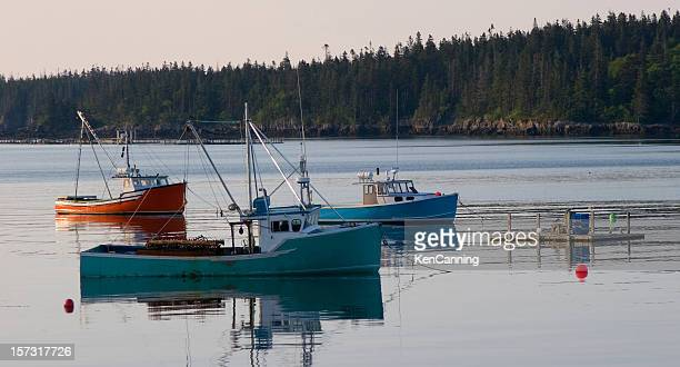 fishing boat trawlers maine - bar harbor stock photos and pictures