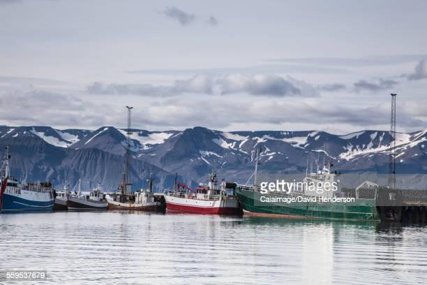 fishing boats along craggy shore, husavik, north iceland - husavik stock photos and pictures