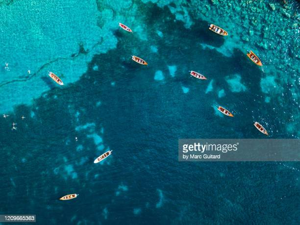 fishing boats, anse dufour, martinique - seascape stock pictures, royalty-free photos & images