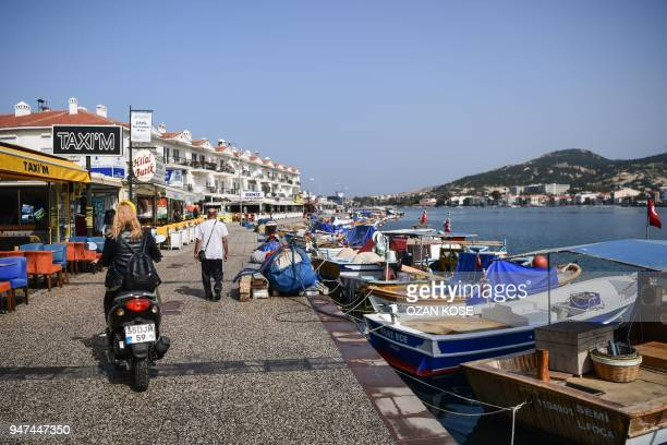 Fishing boats are moored in the harbour of Foca on the Agean Sea northwest of of the city of Izmir on April 17 2018
