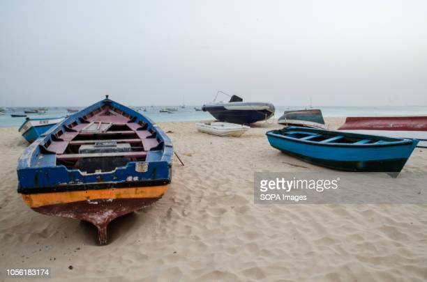 Fishing boats are seen at Santa Maria beach Cape Verde is a nation on a volcanic archipelago off the northwest coast of Africa
