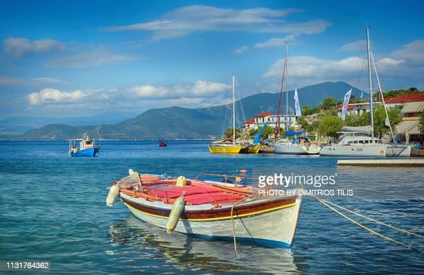 fishing boats at agia kyriaki coastal pelion 3 - volos stock pictures, royalty-free photos & images