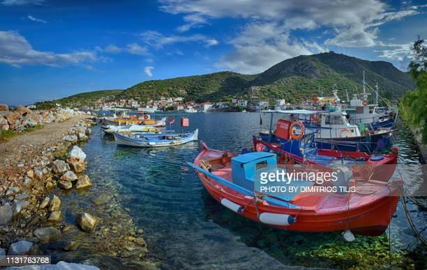 fishing boats at agia kyriaki coastal pelion - volos stock pictures, royalty-free photos & images
