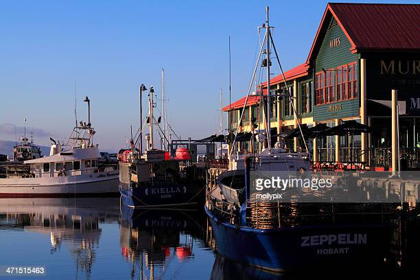 fishing boats at constitution dock, hobart, tasmania, australia - hobart tasmania stock pictures, royalty-free photos & images