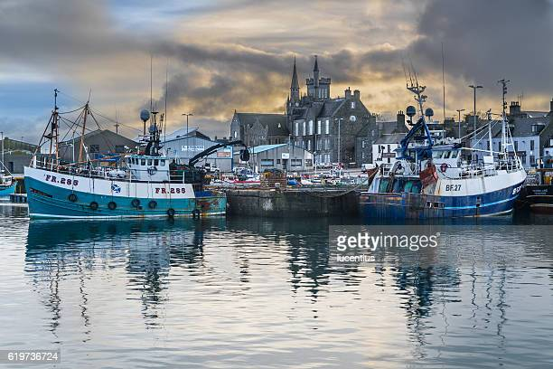 fishing boats at fraserburgh harbour, scotland - fishing boat stock pictures, royalty-free photos & images