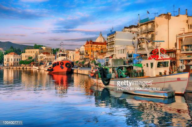 fishing boats at mytilene's port - dimitrios tilis stock pictures, royalty-free photos & images
