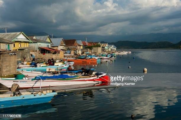 Fishing boats at the Bajau Sea Gypsy village on Bungin Island, famous for living in stilt houses above the water and living entirely off the sea, off...