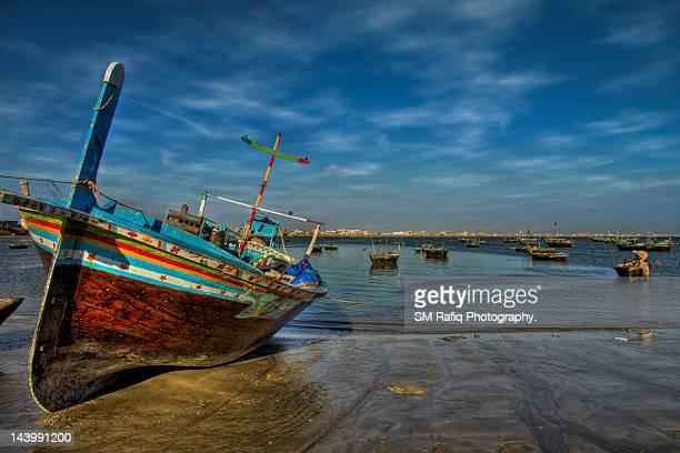 Fishing boats dot