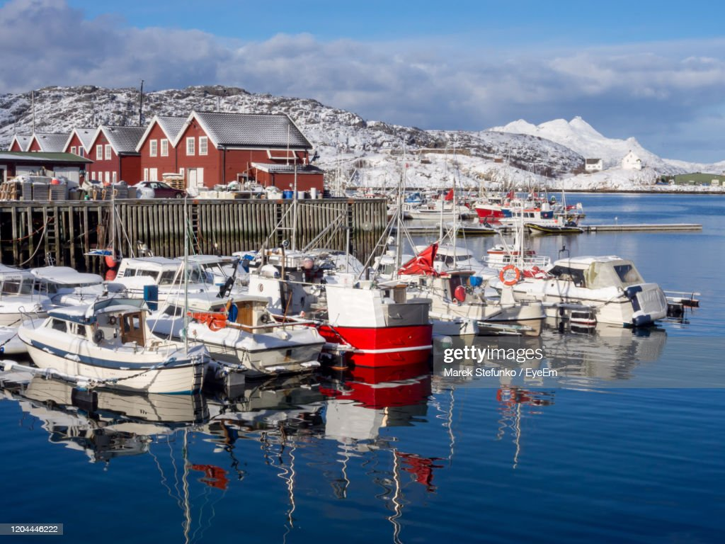 Fishing Boats During The Winter In Bodo Harbor : Stock Photo